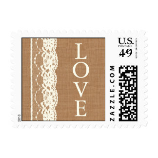Vintage Ivory Lace & Medium Burlap Love Stamp