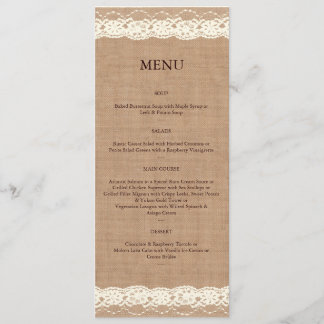 Vintage Ivory Lace & Medium Burlap Menu