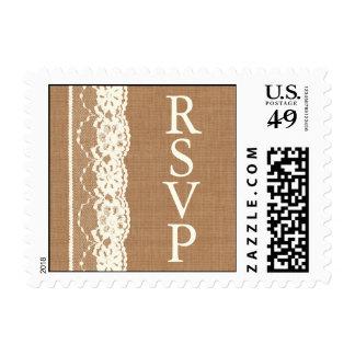 Vintage Ivory Lace & Medium Burlap RSVP Stamp