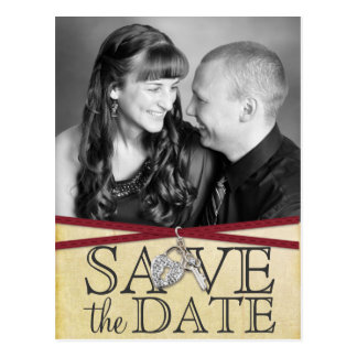 Vintage Ivory Paper & Red Ribbon Save the Date Postcard