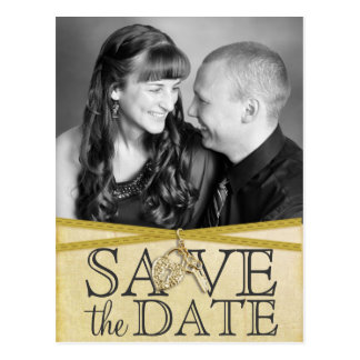 Vintage Ivory Paper & Ribbon Save the Date Postcard