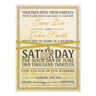 Vintage Ivory Paper Wedding Invitation