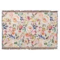 Vintage ivory pink brown watercolor rustic floral throw blanket
