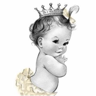 Vintage Ivory Princess Baby Girl Shower Photo Sculpture