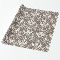 Vintage Ivory Taupe Damask Stylish Pattern Wrapping Paper