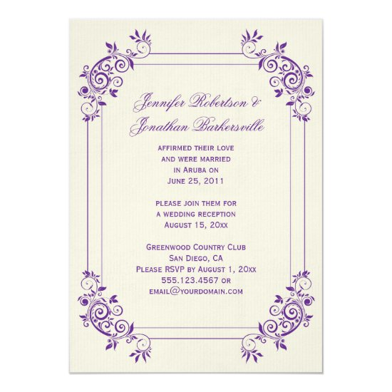 Vintage Ivory with Purple Swirls Post Wedding Invitation