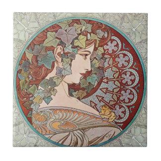 Vintage Ivy Goddess Small Square Tile