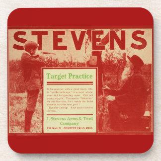 Vintage J Stevens Firearm Red Gun Ad Drink Coaster