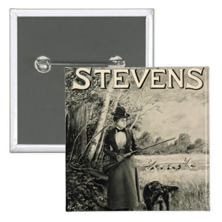 Vintage J Stevens Victorian Lady Gun Ad Button Pin