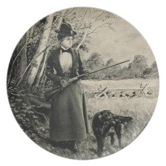 Vintage J Stevens Victorian Lady Gun Ad Dish Plate