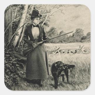 Vintage J Stevens Victorian Lady Gun Ad Stickers