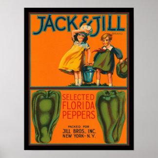 Vintage Jack del KRW y etiqueta del cajón de las Poster