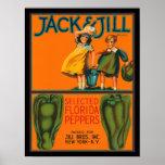 Vintage Jack del KRW y etiqueta del cajón de las p Poster