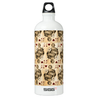 Vintage Jack Hearts Playing Cards Collage Water Bottle