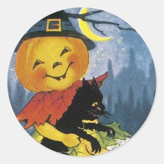 Vintage Jack o' Lantern Child Classic Round Sticker