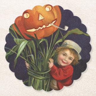 Vintage Jack-o-Lantern Cornstalk and Boy Halloween Paper Coaster