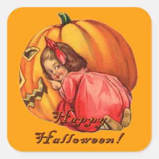 Vintage Jack o' Lantern & Girl Halloween Stickers