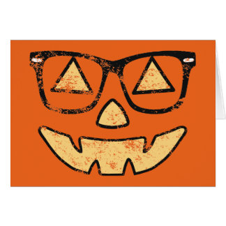 Vintage Jack-O-Lantern With Glasses Greeting Card
