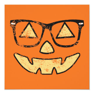 Vintage Jack-O-Lantern With Glasses Halloween Card