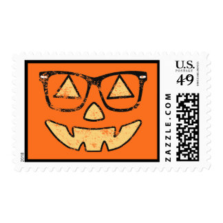 Vintage Jack-O-Lantern With Glasses Stamps