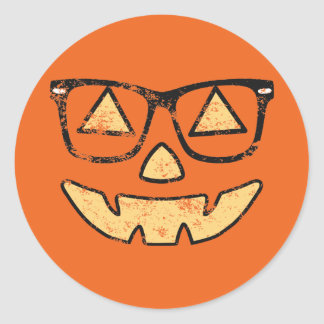 Vintage Jack-O-Lantern With Glasses Stickers