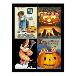 Vintage Jack o Lantern with Kids Collage Postcards