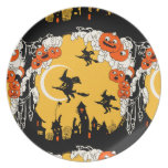 Vintage Jack o' Lanturns and Flying Witches Dinner Plate