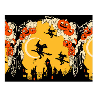 Vintage Jack o' Lanturns and Flying Witches Postcard