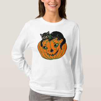 Vintage Jack O'Lantern and Black Cat Shirt