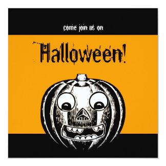 "Vintage Jack O'Lantern Halloween Party Invitation 5.25"" Square Invitation Card"
