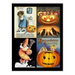 Vintage Jack o'Lantern with Kids Collage Postcards