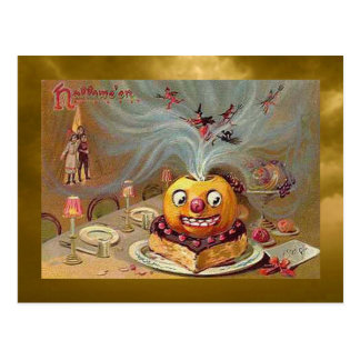 Vintage Jack o'Lantern with Witches Postcard