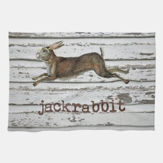 Vintage Jack Rabbit Hare Illustration Cabin Decor Kitchen Towel