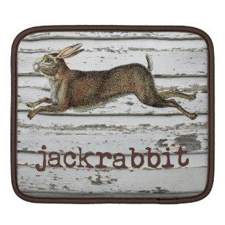 Vintage Jackrabbit Hare Illustration White Wood Sleeve For iPads