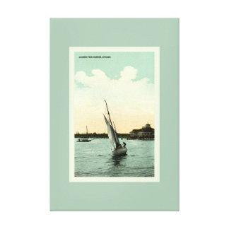 Vintage Jackson Park Harbor Chicago Seafoam Green Canvas Print