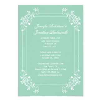 Vintage Jade Green and White Swirls Post Wedding 5x7 Paper Invitation Card