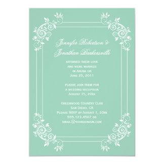 Vintage Jade Green and White Swirls Post Wedding Card
