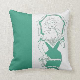 Vintage Jade Pinup Woman Swimsuit Parasol Stanlaws Throw Pillow