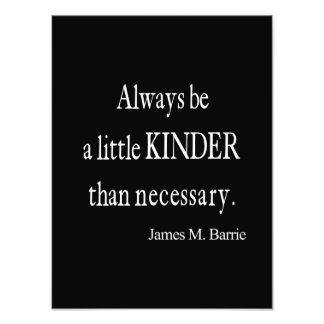 Vintage James Barrie Kinder than Necessary Quote Photo Print