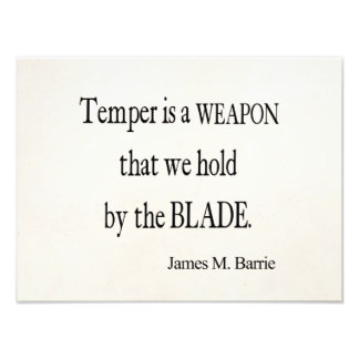 Vintage James Barrie Temper Weapon Blade Quote Photo Print