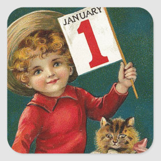 Vintage January 1st Square Sticker