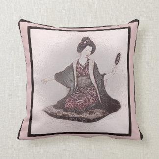 Vintage Japan Geisha+Mirror Pillow, Plastic Effect Throw Pillow