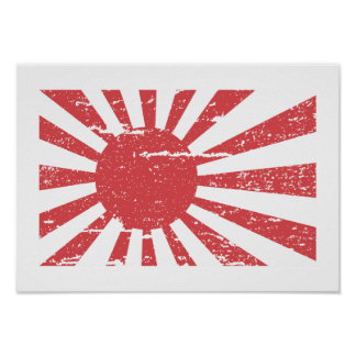 Vintage Japan Navy Flag Print
