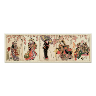 Vintage Japanese Actors 5 Panel Woodblock Poster