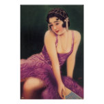 Vintage Japanese Ad Pin Up Girl Poster