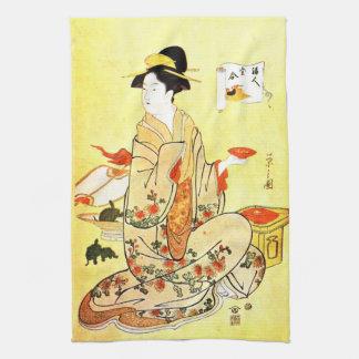 Vintage Japanese art kitchen towel