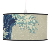Vintage Japanese Art, The Great Wave by Hokusai Hanging Lamp