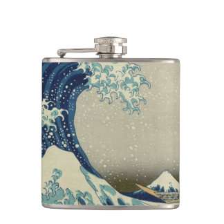 Vintage Japanese Art, The Great Wave by Hokusai Hip Flask