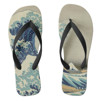 Vintage Japanese Art, The Great Wave by Hokusai Flip Flops