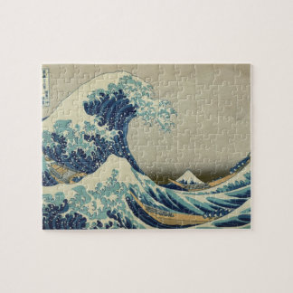 Vintage Japanese Art, The Great Wave by Hokusai Jigsaw Puzzle